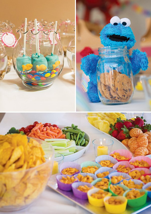 cookie monster party decor and sesame street goldfish crackers
