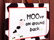 cow print party sign