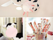 cow print and cow udder balloon party decor