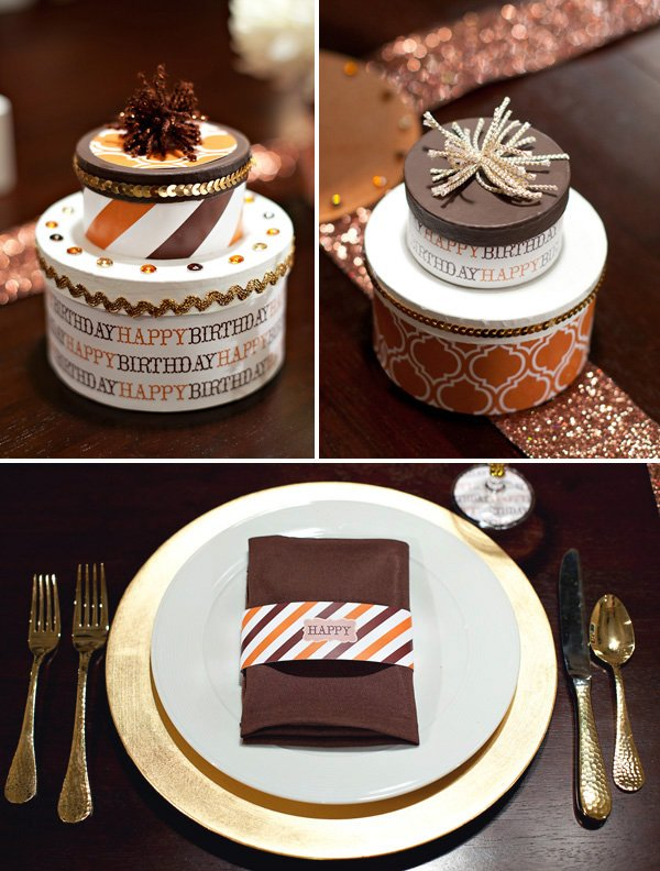 diy birthday cake centerpiece + place setting