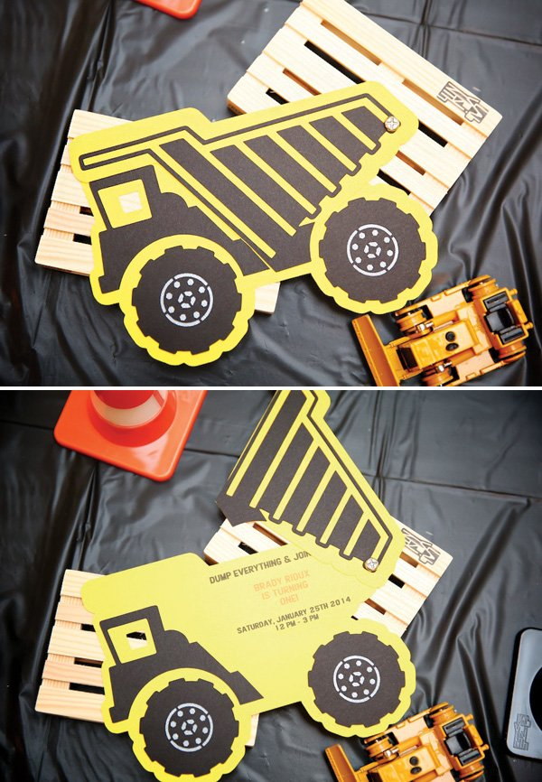 constructon birthday party dump truck invitation