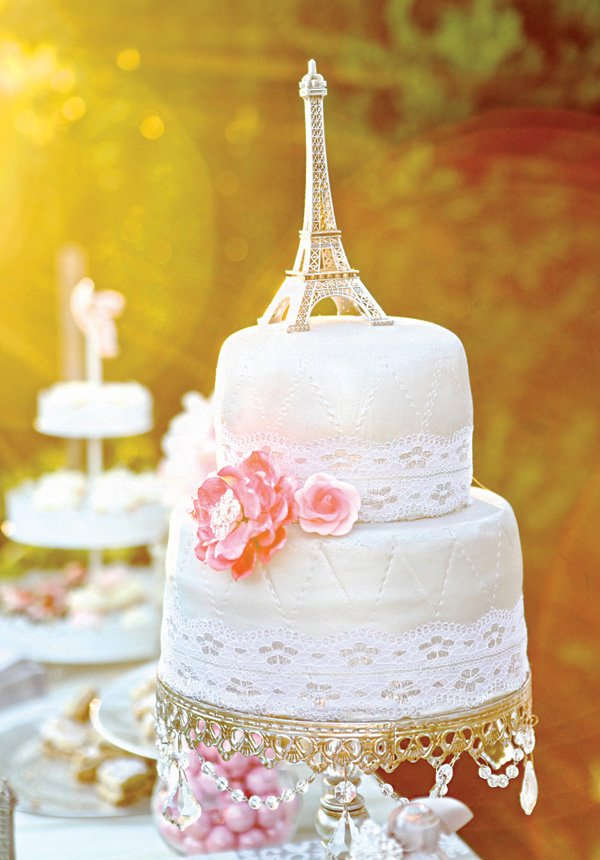 eiffel tower topped lace and quilted shower cake