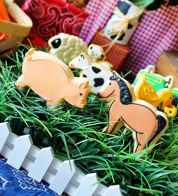 farm animal cookies in a grass field