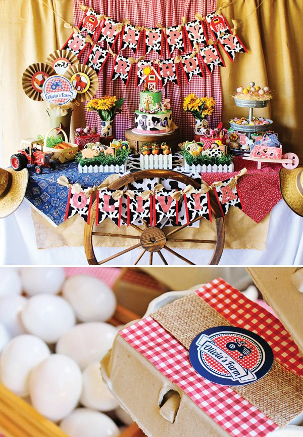 red gingham farm birthday party dessert table