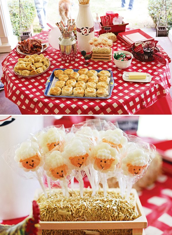 sheep cake pops and other farm birthday party food and dessert ideas