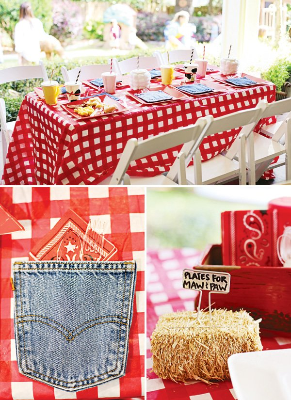 farm party picnic tablescape for the kid's table