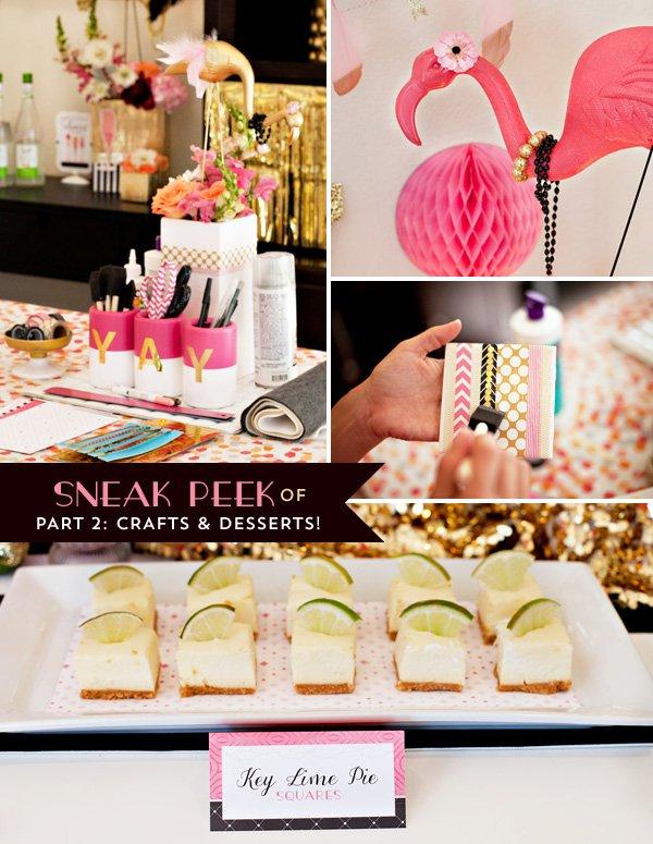 flamingo party desserts & crafts