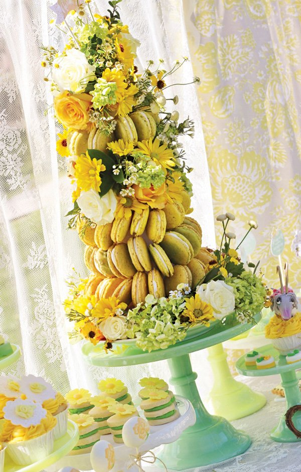 floral yellow macaron tower