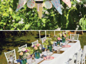 vintage floral party banner and tablescape
