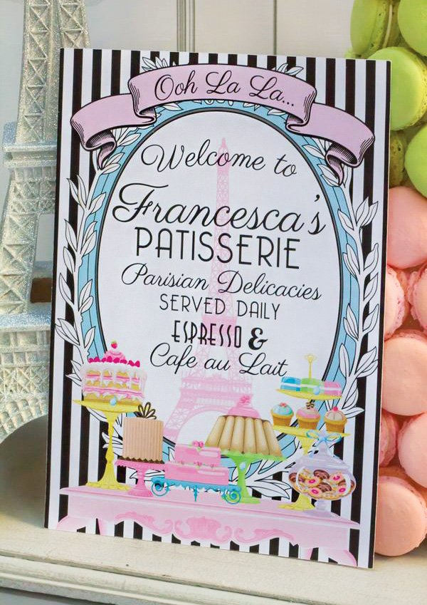 french patisserie party dessert sign