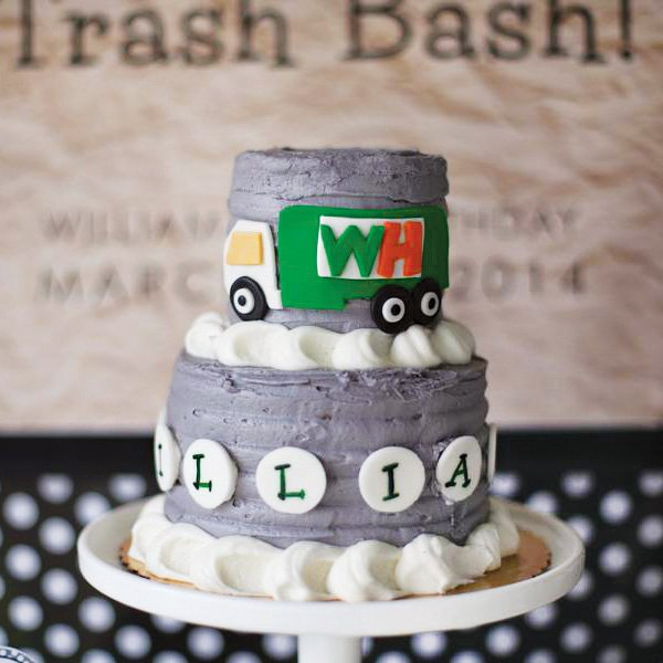 garbage truck birthday cake