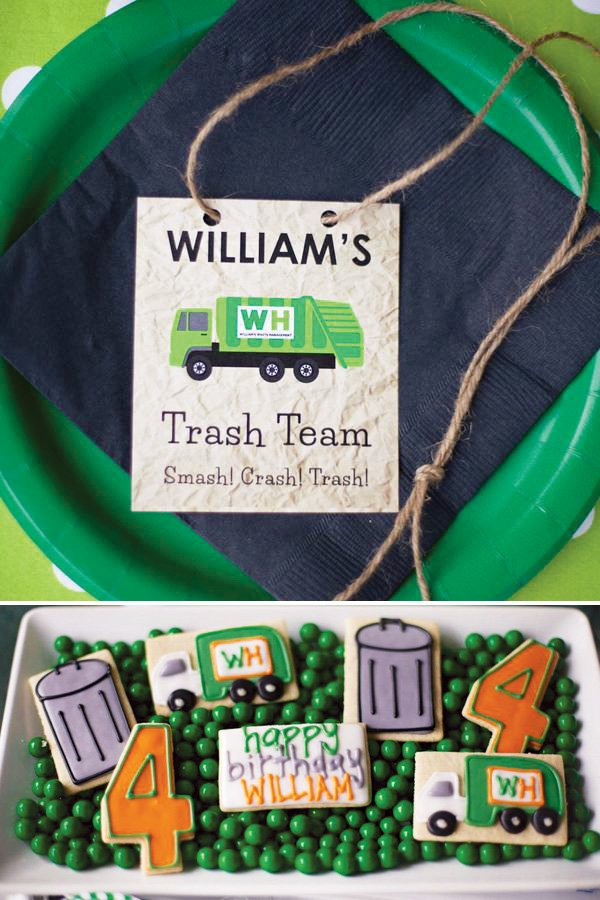 garbage truck and trash can cookies