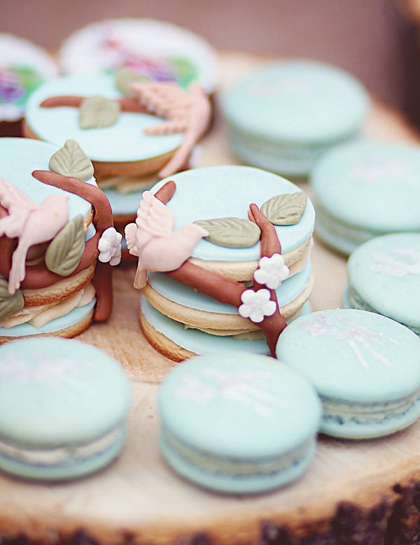 garden party bird and flower stacked cookies