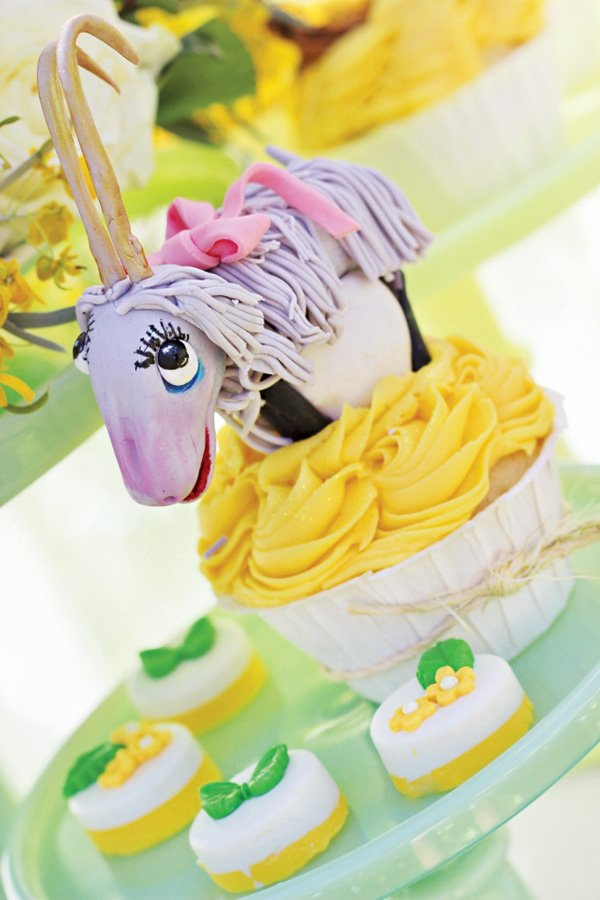 sound of music goat topped cupcake