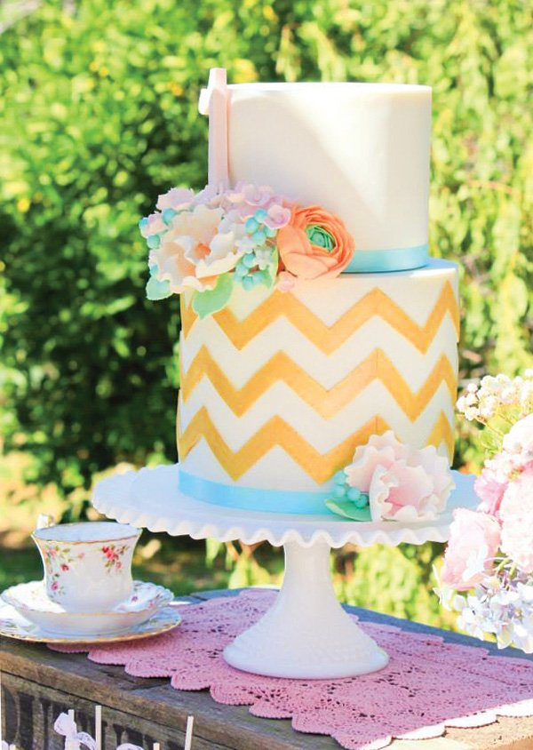 gold chevron striped birthday cake