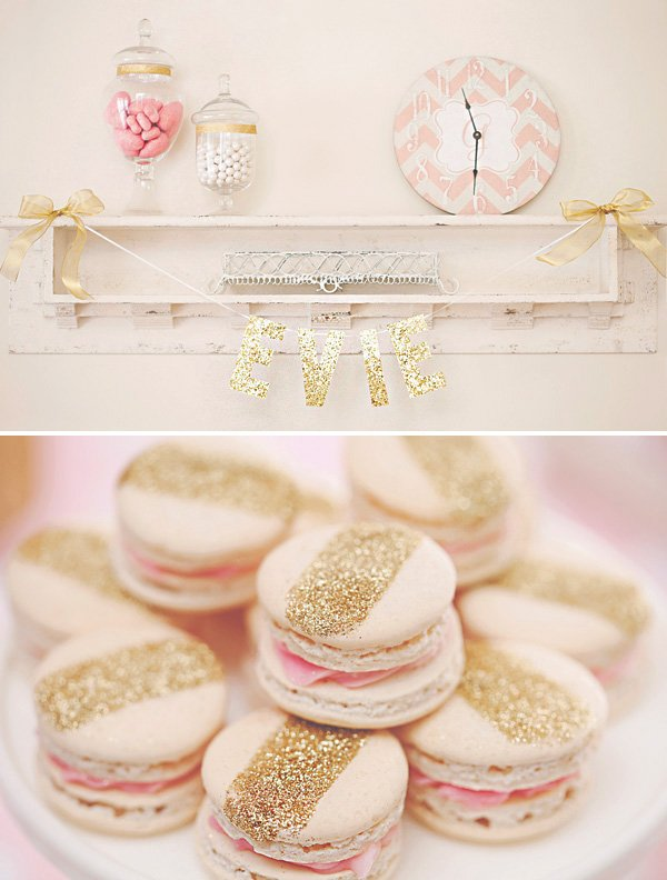gold glitter striped macarons and pink and gold party decor ideas