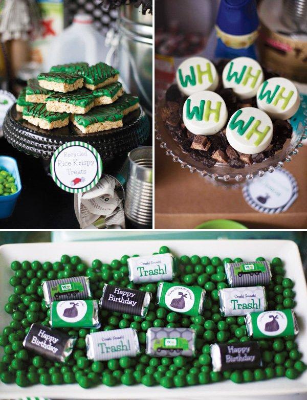 green trash party desserts