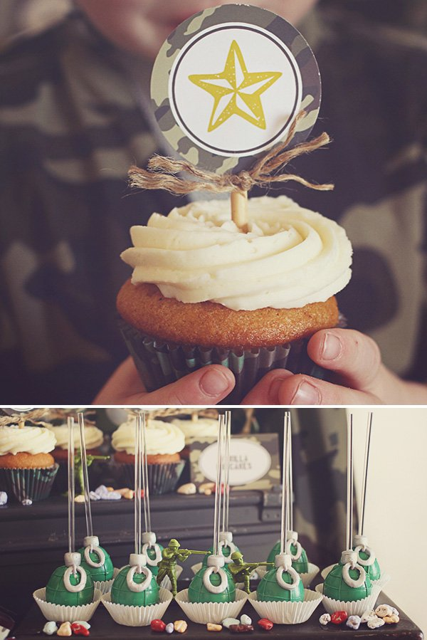 army cupcake and grenade cake pops