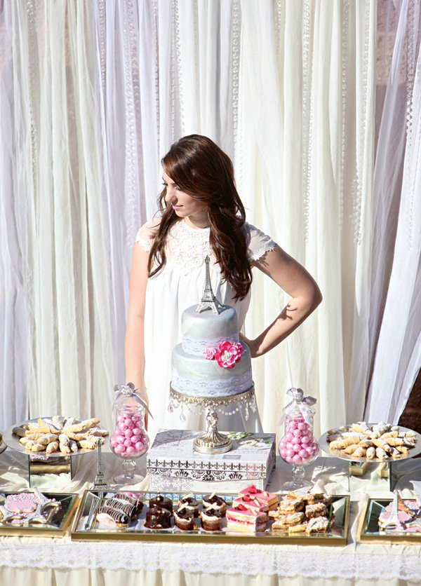 a grey and pink bridal shower dessert table