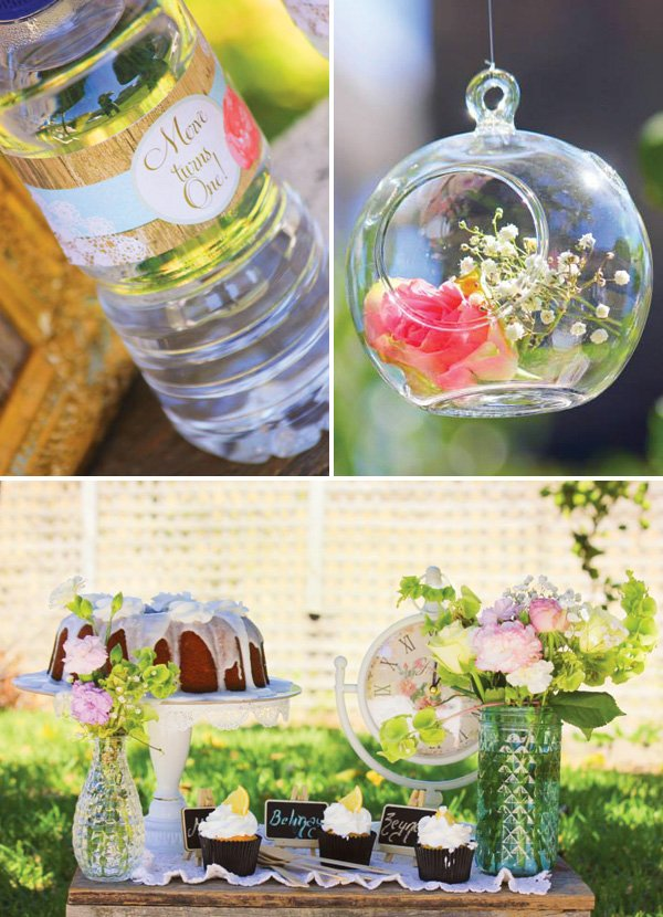 hanging floral terrariums as party decor