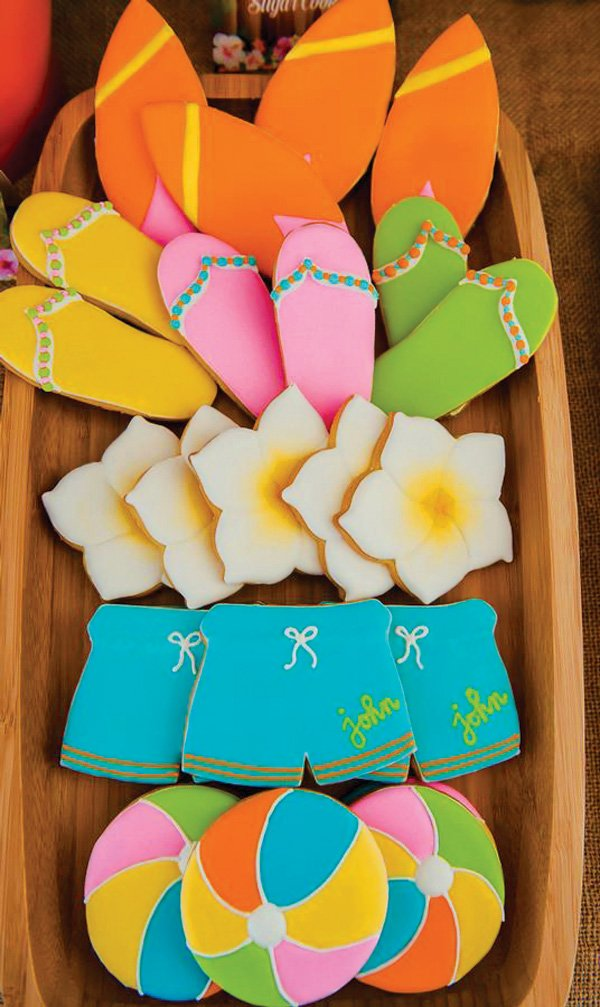 hawaiian beach themed cookies