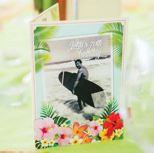 hawaiian 70th birthday party invitation