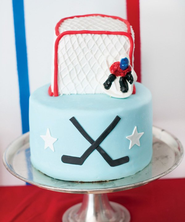hockey net goalie birthday cake