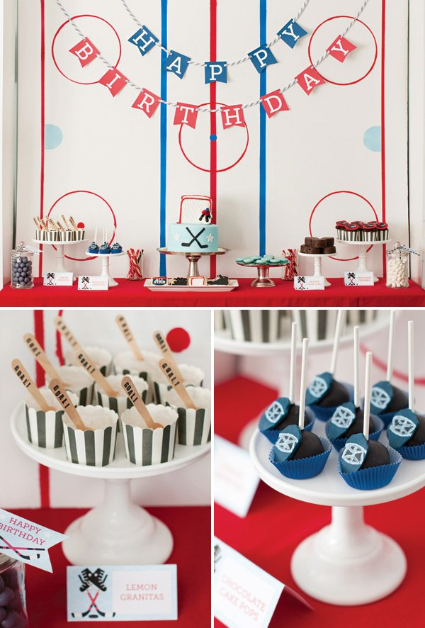 hockey rink dessert table