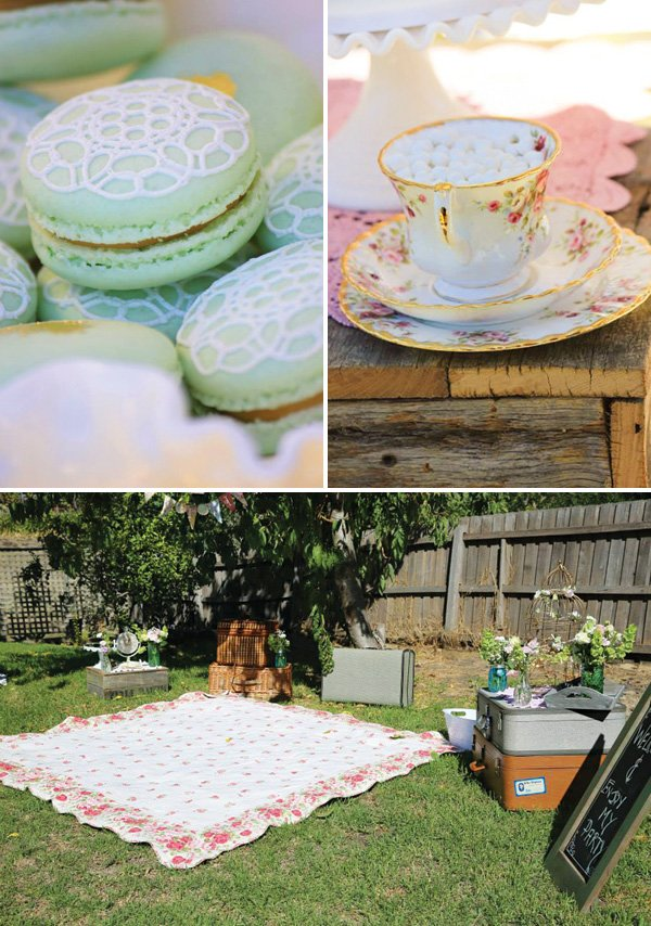 tea party lace macarons and floral tea cups