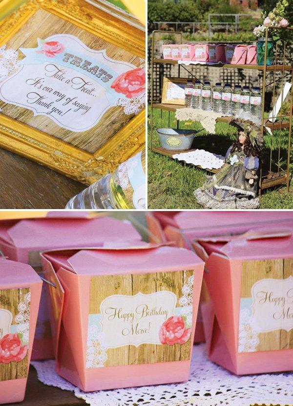 lace party favors table