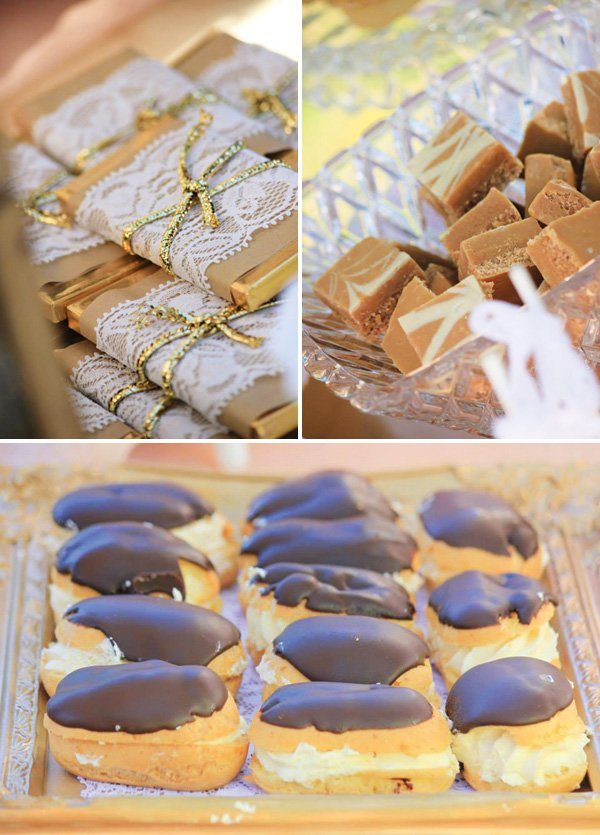 lace wrapped chocolate bars and chocolate eclairs
