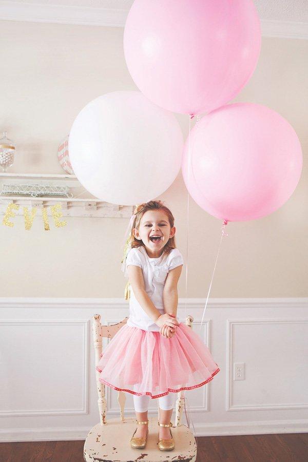 large pink birthday balloons