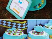 large teal tea cup and tea pot cupcakes