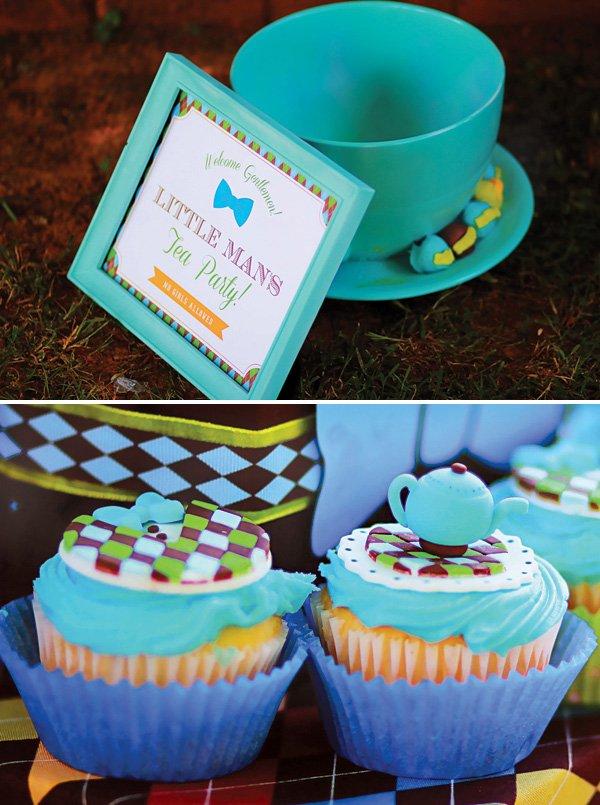 large teal tea cup and tea pot cupcakes