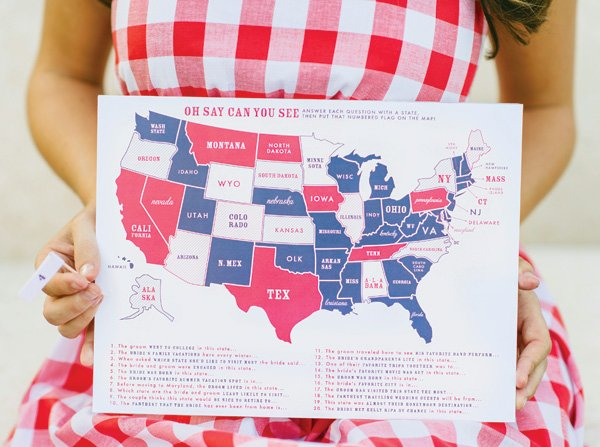 USA states of the bride and groom game