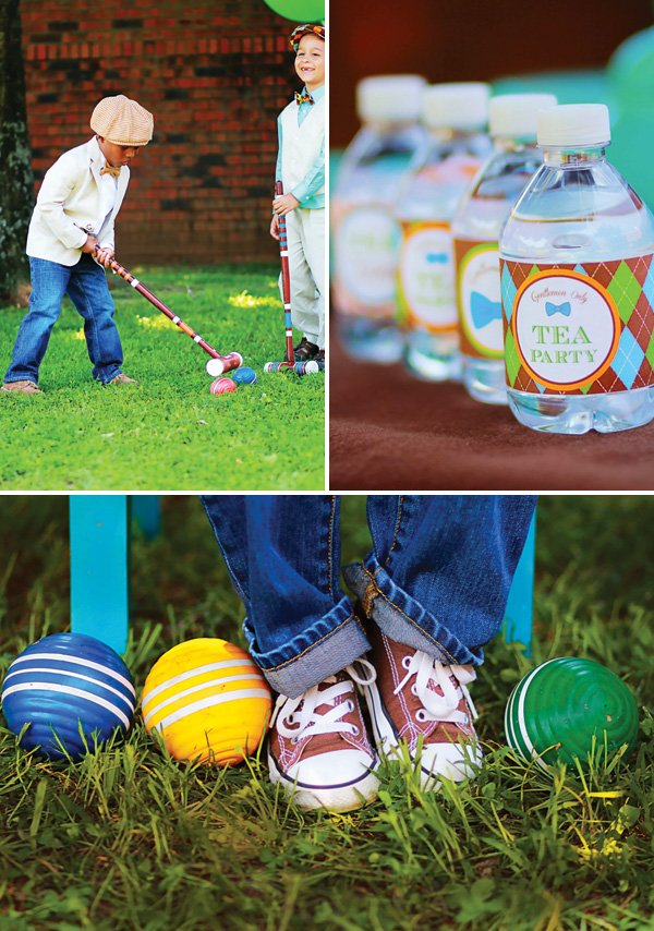 little boys' croquet party outing
