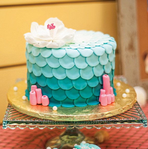 ombre mermaid scale birthday cake