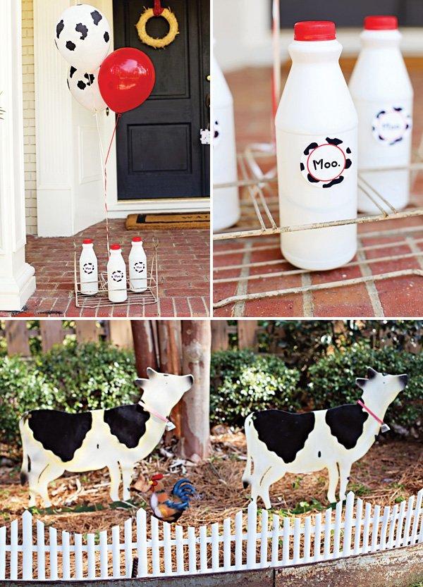 milk bottles for a farm party's decorations