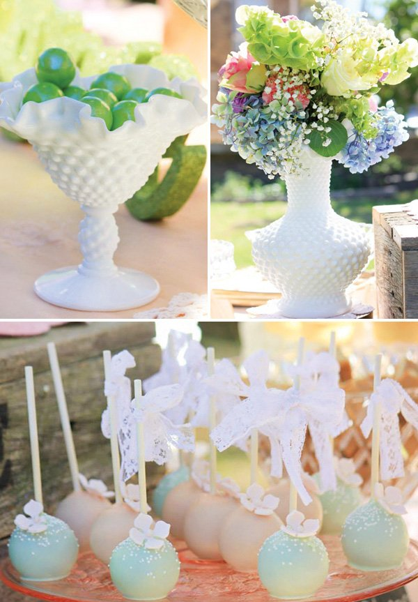 white milk glass floral vases and candy dishes as party decor