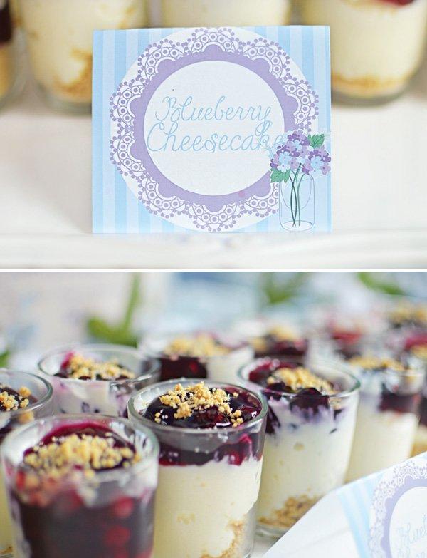 mini blueberry cheesecake shots
