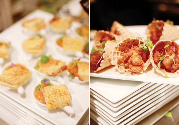 mini comfort foods catered at a party