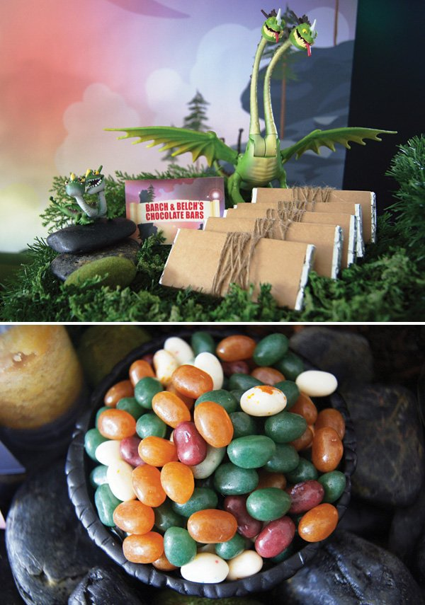 moss and rock decorated dessert table