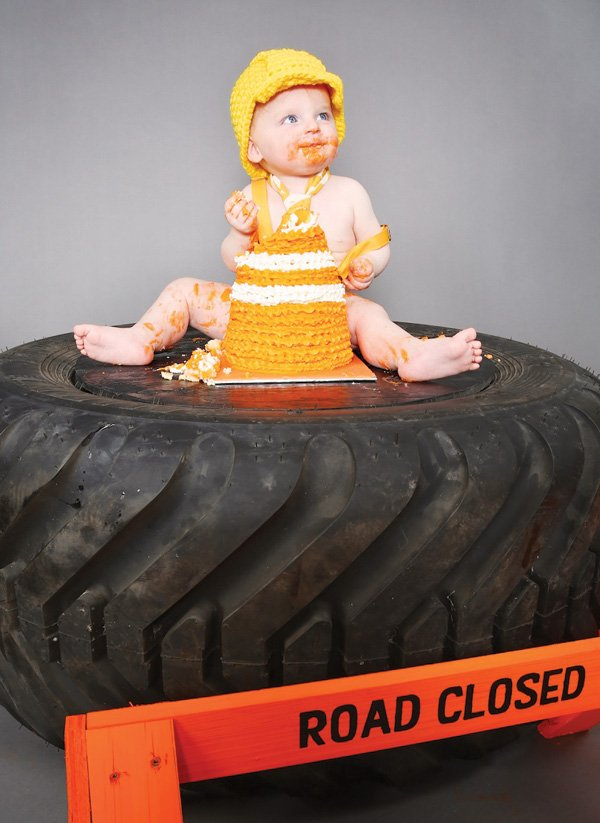orange pylon cone smash cake