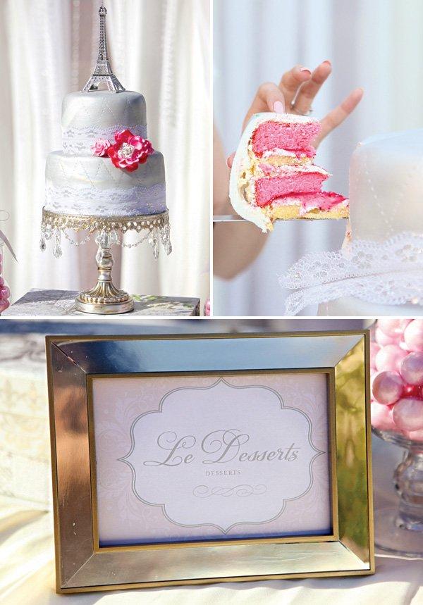parisian bridal shower cake and dessert ideas