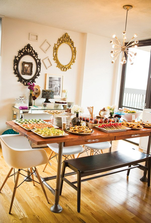 alice in wonderland party food table spread