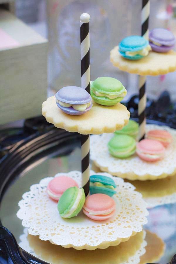 pastel macaron cookie tower