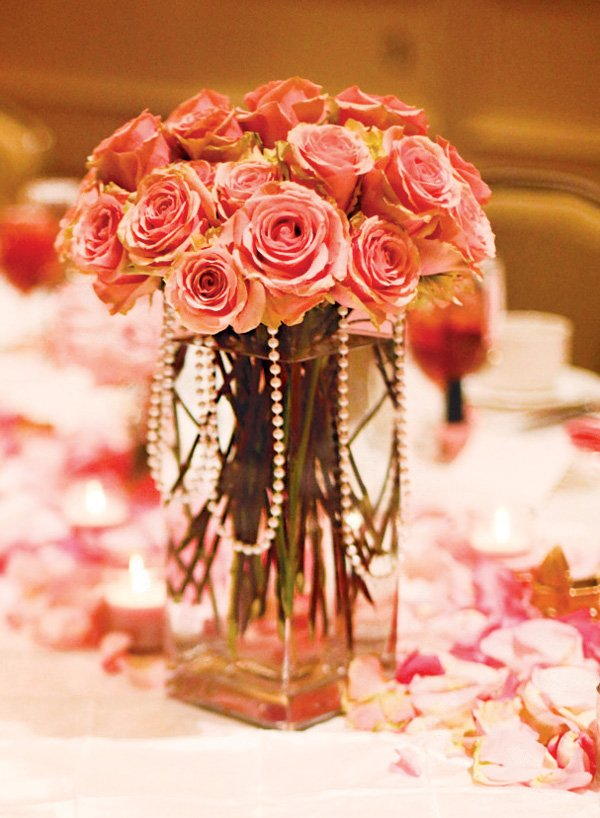 pearl draped pink rose baby shower centerpieces