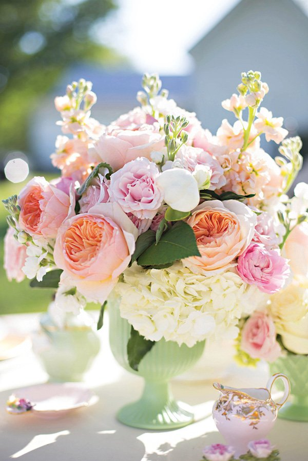peony and hydrangea floral arrangement wedding centerpiece