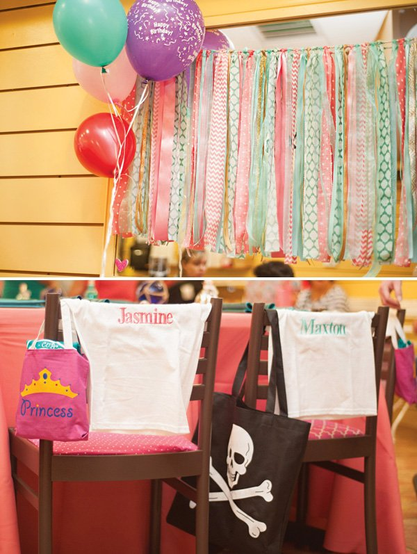personalized party guest shirts and tote bags