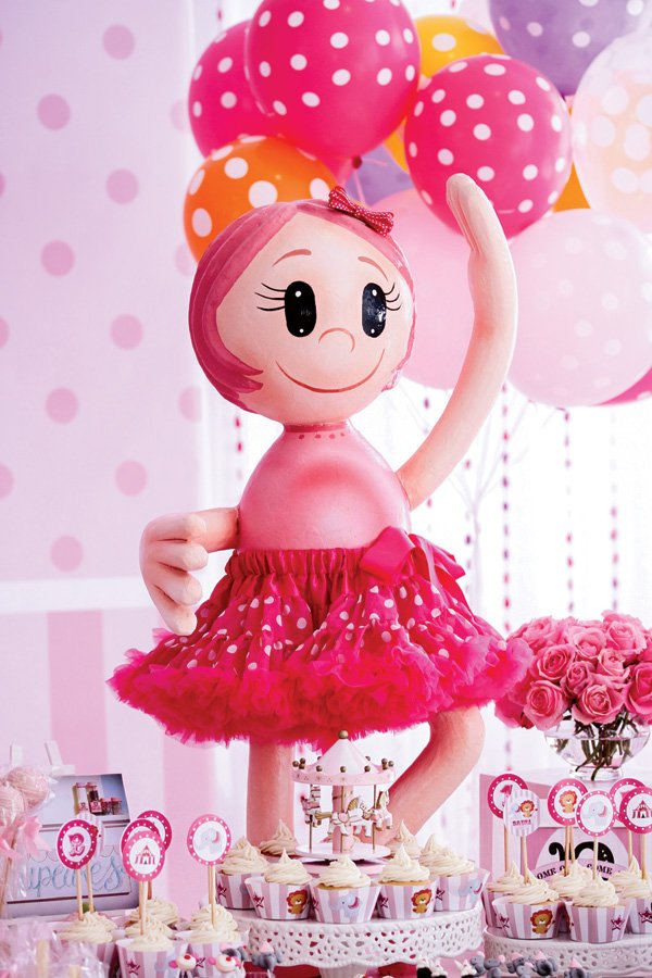 bright pink ballerina party statue